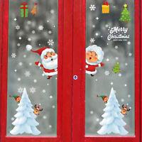 Cartoon Christmas Window Sticker Santa Claus Snowman Art Wall Decal Home Decor