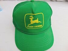 True Vintage JOHN DEERE Green Embroidered Patch Mesh Trucker Snapback Hat Cap