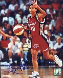 Kim Perrot (dec.1999 WNBA) signed 8x10 photo w/ Houston Comets -INPERSON