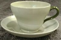 MINT CONDITION Wedgwood England Celadon Green Footed Cup & Saucer Set 2-5/8""