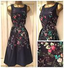 NEW EX MONSOON NAVY BLUE PINK GREEN DELICATE FLORAL DRESS SIZE 8 - 20