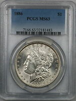 1886 Morgan Silver Dollar $1 Coin PCGS MS-63 (7A)
