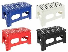 Home Basics NEW Wide Large Folding Step Stool wit Non-Slip Dots Red Blue FS49428