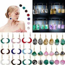 Natural Stone Crystal Gradient Geometrical Earrings Ear Stud Dangle Hook Women