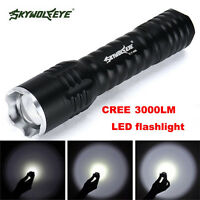 Zoomable Focus 3000 Lumens 3 Modes XML T6 LED 18650 Flashlight Torch Lamp