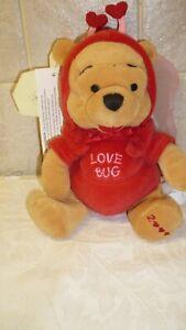 "Disney Store Love Bug Pooh Bear 8"" beanie toy - Winnie the Pooh (Valentine Bear)"
