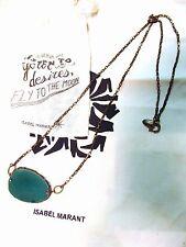 Magnifique Collier Sautoir ISABEL MARANT Agate bleu- vert ETAT NEUF
