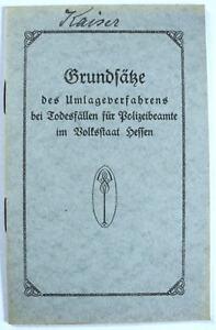Grundsätze Umlageverfahren b Todesfällen f. Polizeibeamte Volksstaat Hessen 1928