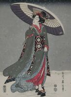 ARTIST SIGNED AND STAMPED ORIGINAL JAPANESE WOODBLOCK OF WOMAN IN SNOW