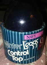 Winter Leggs Navy Control Top Pantyhose Queen Size In Egg Vintage
