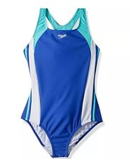 Speedo Girls Solid Infinity Splice Dark Peri Size 8