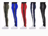 EPTM Men's Techno Side Zipper Long Drawstring Vegan Leather Track Pants