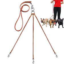 Triple Leather Dog Coupler Lead No Tangle Walking Leash with Handle for 3 Dogs