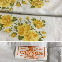 Vintage Cannon Percale All Cotton Pair of Standard Pillowcases Yellow Roses USA