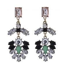 Fashion Vintage Women Rhinestone Crystal Leaf Ear Stud Drop Earrings Jewelry