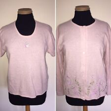 Past Times Pale Pink Embroidered Floral Lambswool & Angora Twin Set - Medium 14