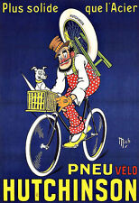 Art Ad French Hutchinson Tire  PNEU Bicycle Cycle Bike    Poster Print