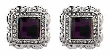 CLIP ON EARRINGS - silver stud with a purple stone and clear crystals - Wilma