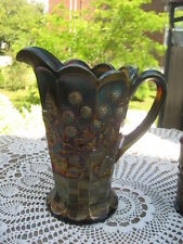 """#24 Northwood Carnival glass Raspberry pattern  pitcher  Amethyst 9""""inches tall"""