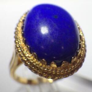 14K Yellow GOLD Blue Oval Lapis Lazuli Ring 7.803 Grams Size 6.5 Hallmark