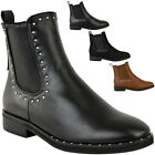 Womens Ladies Flat Studded Chelsea Ankle Boots Casual Elastic Pull On Shoes Size