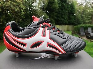 Gilbert S/STEP  XV LOW  Lo 6 Stud SG Rugby Boots UK 3  + 4  BLACK RED  JNR