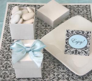 96 White Cube Wedding Favors Favor Boxes Lot