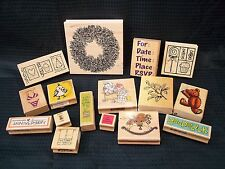 HUGE lot of 16 Rubber Stamps - Large to Small - All Occasions