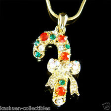 w Swarovski Crystal XMAS Holiday Gold Plated ~CANDY CANE~ Charm pendant Necklace