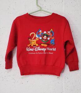 Vtg 2000 Walt Disney World Baby Sweatshirt Red USA 24m