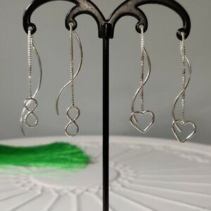 Solid 925 Sterling Silver Infinity Heart Pull Through Threader Earrings