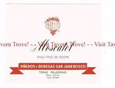 Unused 1940s URUGUAY Villa Colon San Juan Bosco Tomas Pellegrino Moscatel Label