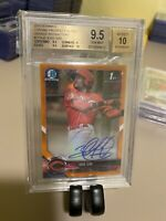 2018 BOWMAN CHROME JOSE SIRI AUTO ORANGE REFRACTOR #/25 GEM MINT BGS 9.5
