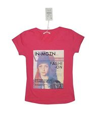 NEW! AUTHENTIC ZARA WOMEN'S GRAPHIC T SHIRT TOP (FUCHSIA PINK, SIZE LARGE)