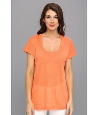 NWT $68 C&C California Roll Sleeve Tee Persimmon Top size Small Orange MSRP $68