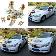 12pcs Wedding Car Decorations Kit DIY Rose Flower Garland Ribbon and Bows Set