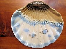 """Sea Shell Pottery Wall hanging on dish with sand, ocean & fish design, 9"""" x 8.5"""""""