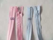 2 Reißverschlüsse 50cm , Spirale 3mm, teilbar  Farbe hell blau, hell rosa