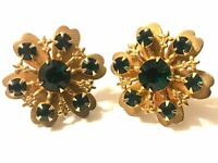 "Vintage Gold Tone Clover Earrings Green Rhinestone Screw Backs 1 1/8"""