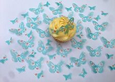 48 Edible Blue With Pink Flower Butterflies Pre Cut Wafer Cupcake Toppers