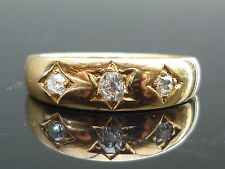Splendido Vittoriano 18ct GOLD 0.30ct 3 VECCHI Diamante Taglio Gypsy Star Set RING M11