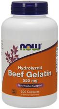 Beef Gelatin 550mg Hydrolyzed Now Foods 200 Caps