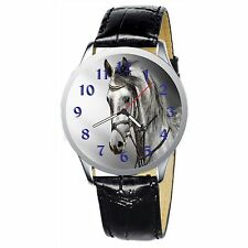 Grey Horse Portrait Stainless Wristwatch Wrist Watch