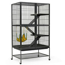Large Ferret Cage Wrought Iron 4 Level Rodent Cage Chinchilla Cat Stand+Wheel
