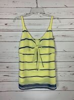 Cabi Women's XS Extra Small Yellow Blue Striped Sleeveless Spring Top Blouse
