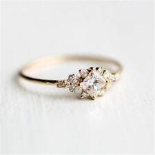 Inlaid Square Diamond Zircon Ring 14k Gold Engagement Gift Trendy Decor Size5-10