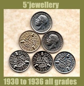 50% silver 3d Pence coins George 5th 1930 1931 1932 1933 1934 - 1937 Good to UNC