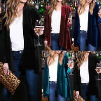 Fashion Women Drape Velvet Jacket Open Front Cardigan Coat Loose Tops Outwear