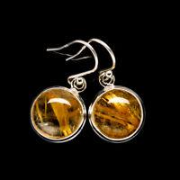 "Rutilated Quartz 925 Sterling Silver Earrings 1 1/8"" Ana Co Jewelry E398914F"