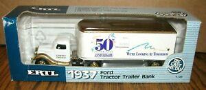 ERTL Super Value 50th Anniv 1937 Ford Tractor Trailer Semi Truck 1/43 Bank #2984
